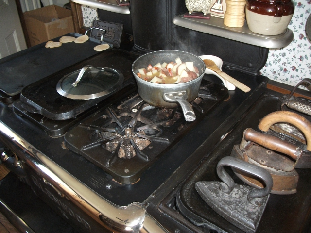 Old wood burning stove used for morning breakfast at Lizzie Borden B&B
