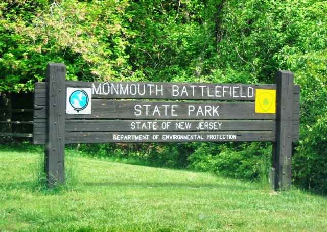 Monmouth Battlefield State Park sign