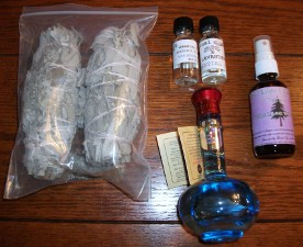 White Sage, Lavander Oil, Angelica Oil, White Sage Spray,  Holy Water,  used by Chuck's Paranormal Adventures.